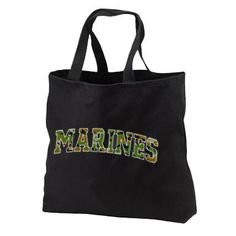 Camo Marines New Black Tote Bag, All Purpose, Armed Forces Support Troops on Etsy, $17.99