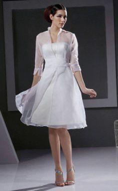 A-line 3/4 Length Sleeve Knee-length Organza Wedding Dress