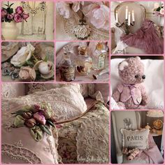 The Original Gypsy Color 4 Light Small Shabby Chic Crystal Chandelier White Metal Frame with Clear Acrylic Crystal - Home Style Corner Shabby Chic Theme, Shabby Chic Bedrooms, Collages, Color Collage, Mood Colors, Beautiful Collage, Colour Board, Everything Pink, Color Themes