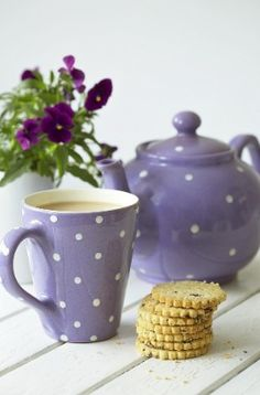 Polka dots & violets - two of my favorite things, oh, and the little treats sitting there don't look too shabby either!