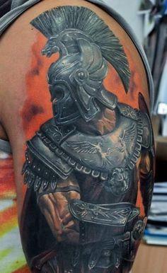 3D Spartan Tattoo On Left Half Sleeve