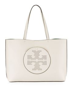 TORY BURCH Leather Perforated Logo Tote Bag, Beige. #toryburch #bags #shoulder bags #hand bags #leather #tote #