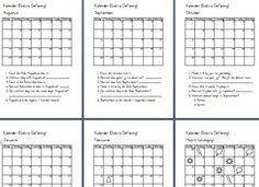 Hier is agt oefeninge met 'n kalender wat nie 'n jaartal het nie. Die oefeninge kan dus jaar na jaar gebruik word. Gebruik hierdie oefeninge om vaslegging te doen in die klas. Dit kan selfs as huiswerk gegee word sodat mamma ook 'n bietjie kan help. As mamma die oefeninge koop en tuis doen is dit fantasties! Graad 2 leerders wat nog nie die kalender verstaan nie kan dit ook gebruik. Teaching Resources, Periodic Table, Om, Teacher, Words, School, Periodic Table Chart, Professor