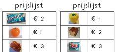 Juf Margot: Rekenen - spel m.b.v. de AH mini's Euro, Grade 1, Minis, Restaurant, School, Templates, Math, Carnival