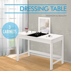 Dressing Table Mirror Jewellery Cabinet 3 Drawer  Accessory Organiser White