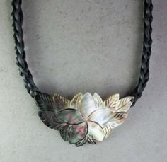 Gray and White Iridescent Mother of Pearl Statement by Woojoo