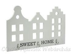 Fali kulcstartó Sweet Home fehér 3 akasztóval