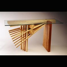 """Custom Made Solid Ash """"Explosion"""" Hall Table By Seth Rolland"""