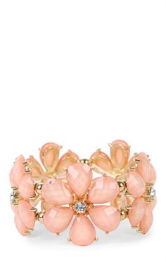 Deb Shops Flower Stretch Bracelet with Stones $6.75