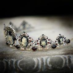Drusilla tiara  Gothic headpiece marcasite garnet by AncaPeelma,