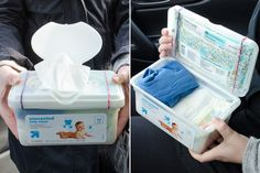 Turn an empty wipes holder into a travel diaper-changing station.