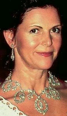 Tiara Mania: Connaught Diamond Tiara worn as a necklace by Queen Silvia of Sweden