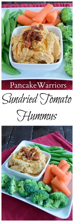 Sundried Tomato Hummus - this easy, healthy recipe is so easy to make! Sundried tomatoes give this hummus it's flavor, no tahini needed!