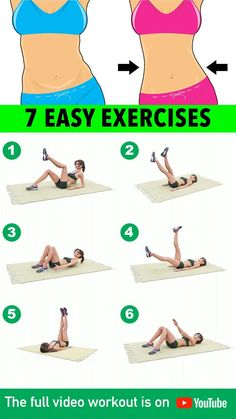 7 Easy Exercises: Reduce Belly Fat Full Body Gym Workout, Gym Workout Videos, Gym Workout For Beginners, Post Workout, Workout Exercises, Fat Knee Exercises, Bed Exercises For Stomach, Armpit Workout, Thigh Exercises For Women