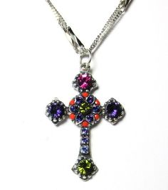 "Silver Plated Double Chain ""Twist and Shout"" Swarovski Crystal Cross Pendant Necklace"