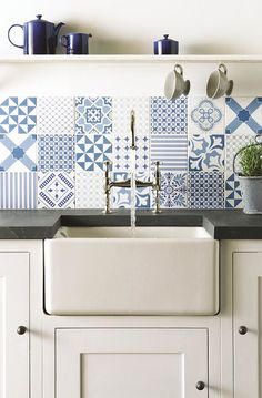 Fresh blue Tapestry patchwork tiles from the Odyssey collection by Original Style. Mix & match patterned tiles in white and blue. Patterned Kitchen Tiles, Kitchen Wall Tiles, Kitchen Backsplash, White Tiles, Blue Tiles, Backsplash Ideas, New Kitchen, Kitchen Interior, Kitchen Design