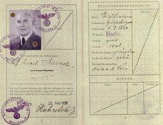 German passport belonging to a Jew in 1939