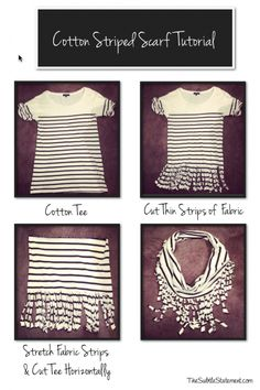 Cotton Scarf Tutorial from an unflattering tee! This would also look so cool with one of those awkward colorblock tees! http://stylewarez.com