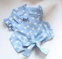 Kids Girls Heart Print Tops Bow T Shirts Ruffled Sleeve Cowboy Vest Cute Girl Dresses, Little Girl Dresses, Fashion Kids, Baby Boy Outfits, Kids Outfits, Cute Little Girls, Stylish Kids, My Baby Girl, Kind Mode