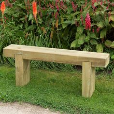 Our strong and stylish Forest Garden Sleeper Bench is ideal garden seating. Matching table available. Wooden Garden Table, Wooden Garden Furniture, Garden Seating, Outdoor Seating, Small Garden Bench, Outdoor Garden Bench, Outdoor Dining, Outdoor Furniture, Wooden Bench Seat