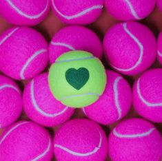 Hot off the press! Beautiful handmade tennis balls available in a variety of colours decorated with a heart print motif. Tennis Wallpaper, Tennis Photos, Maria Sharapova, Persephone, Tennis Players, Heart Print, Tennis Racket, Balls, Hearts