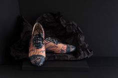 Artisan shoes made with with hand screen printed leather, true craftmanship. Printed in Bristol.