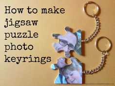 Me and my shadow: Upcycled Jigsaw Puzzle Pieces - How to make photo keyrings Recycled Toys, Recycled Art, How To Make Photo, Photo Keyrings, Puzzle Crafts, Christmas Crafts For Kids To Make, Holiday Crafts, Christmas Gifts, Christmas Ornaments