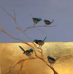 Blue wrens by claire Voutsinas Gold Leaf Art, Gold Art, Feuille D'or, 3d Max, Wildlife Art, Art Auction, Animal Paintings, Art Drawings, Horse Drawings