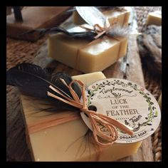 Tanglewood Organic Soap - Luck of the Feather -  essential oils of sweet orange, cinnamon, & nutmeg.