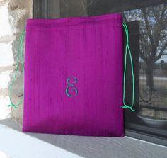 For our shoes....Lingerie / Shoe Bag Silk Dupioni Monogram Custom by plethora, $30.00