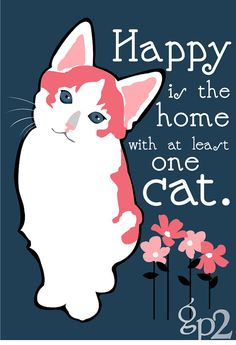 "GoingPlaces2 --  in Seattle, Washington    ---    Calico Cat artwork. ""Happy is the home with at least one cat"" is an old Spanish Proverb. Imagine the happiness abounding in your home with two cats...or just one cat and this art print!"