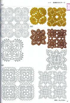 Hooked on crochet: motifs Free Crochet Square, Granny Square Crochet Pattern, Crochet Diagram, Crochet Chart, Crochet Squares, Diy Crochet, Vintage Crochet, Plaid Au Crochet, Crochet Poncho
