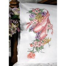 Ballet Slippers Pillowcase Pair Stamped Cross-Stitch