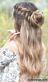 8 Halo Braid Hairstyles That Look Fresh And Elegant. It doesn& matter if yo., Peinados, 8 Halo Braid Hairstyles That Look Fresh And Elegant. It doesn& matter if you& into messy hair, buns, headbands or half updos. Adding a halo. Messy Bun Hairstyles, Dance Hairstyles, Homecoming Hairstyles, Teen Hairstyles, Formal Hairstyles, Pretty Hairstyles, Wedding Hairstyles, Concert Hairstyles, Bridesmaid Hairstyles