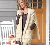 Irish Knit Merino Wool Pocket Shawl