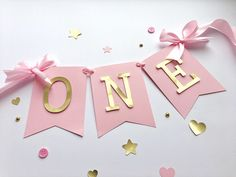 Excited to share the latest addition to my #etsy shop: Pink Gold High Chair Banner Baby Girl 1 st Birthday Banner ONE High Chair Sign One Year Birthday Cake Smash Bunting First Girl Birthday