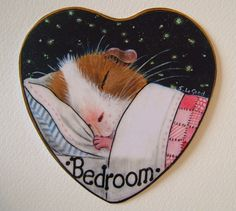 Glittery Guinea Pig bedroom door sign