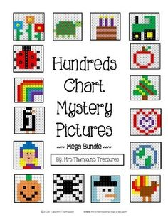 Students will love this set of 63 fun, ready to go, no prep, printable worksheets for practicing place value, following directions, and recognizing colors and numbers on a hundreds chart. Use the key to color in the boxes and reveal a hidden picture! Great to use for holidays and any other time all year long! Can be used for morning work, early finishers, indoor recess, or fun homework. 2 versions for differentiation. $