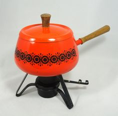I have one of these. I have moved it more than four times. Why can't I just give it away??  ::  Vintage Fondue . Fondue Set . Retro Kitchen . Orange Fondue. $22.00, via Etsy.