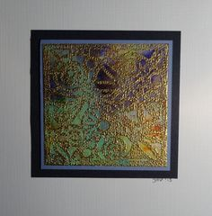 Brusho on canvas. Stamped with Golden embossingpowder.