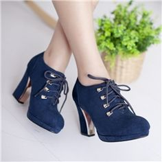 New Style Shoelaces Chunky Heel Pumps 2014