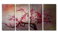 Amazon.com: Ode-Rin 100% Hand Painted Abstract Cherish Art Oil Paintings Beautiful Pink Plum Blossoms 4 Panels Wood Framed Inside For Living Room Art Work Home Decoration: Oil Paintings