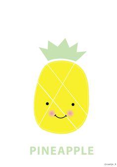 Kawaii PINEAPPLE printable #caatjek #pineapple