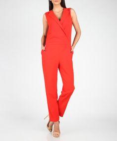 Red wrap-over jumpsuit Sale - MARMURI Sale