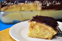 This Boston Cream Poke Cake Mix Recipe is a chocolatey creamy, heavenly delight. It is so simple to make using a cake mix and instant pudding. Scrumptious!