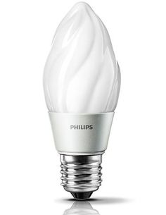 Replaces: 25W incandescent; Wattage: 3.5W; Lumen Output: 180; Color Temperature: 2700K; Bulb Life: 25,000 hours; Energy Star Certified; This dimmable candle provides smooth dimming and decorative ambience. Higher lumens provide more light in all directions, giving designers an energy-saving alternative to incandescent sources. It features smooth dimming to 10 percent of full light levels and emits virtually no UV/IR light in the beam. www.usa.lighting.philips.com