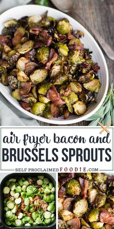 Air Fryer Brussels Sprouts and Bacon- Brussels Sprouts and Bacon in the Air Fryer are the best and easiest way to cook this recipe! Only two ingredients needed to make this classic combination. Air Fryer Brussels Sprouts and Bacon Sommer Air Fryer Recipes Vegetarian, Air Fryer Recipes Breakfast, Air Fryer Oven Recipes, Air Frier Recipes, Air Fryer Dinner Recipes, Healthy Recipes, Snacks Recipes, Easy Recipes, Air Fryer Recipes Vegetables