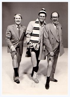 Eric Morecambe and Ernie Wise with Elton John Comedy Duos, Comedy Tv, Tommy Cooper, Wade In The Water, Watford Fc, Captain Fantastic, Morecambe, Laurel And Hardy, British Comedy