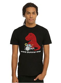 <p>T-rex is heart broken. He's always wanted to be a drummer for a punk rock band, but his arms just aren't long enough. Maybe he can switch to vocals? He's got a killer growl.</p>  <ul> <li>100% cotton</li> <li>Wash cold; dry low</li> <li>Imported</li> <li>Listed in men's sizes</li> </ul>  <p></p>