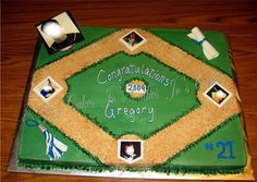 An 18x24 sheet with each plate a picture from baby to little leagues up to high school. The mortarboard is sitting on a RK treat baseball. Crushed Nilla wafers make up the gravel